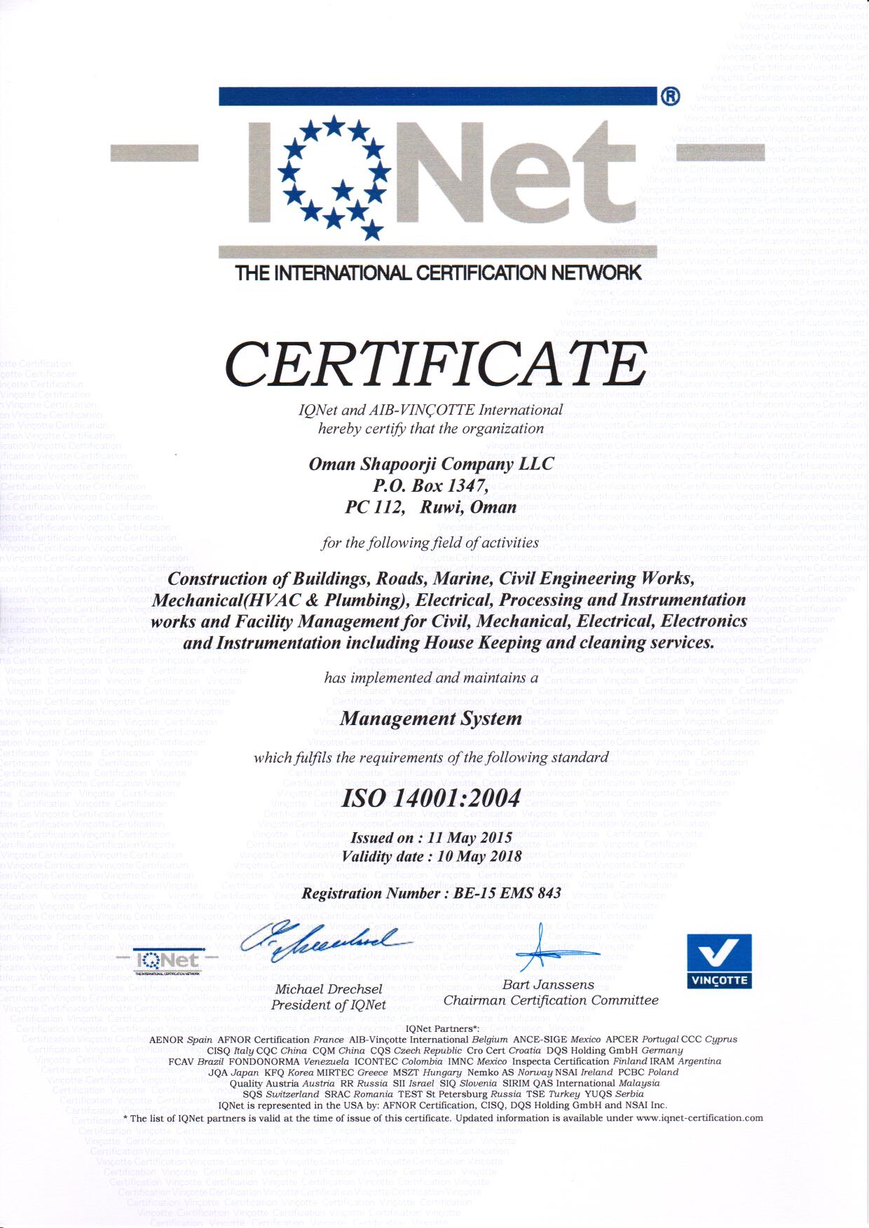 ISO 14001 Certificate May 2015 IQNET