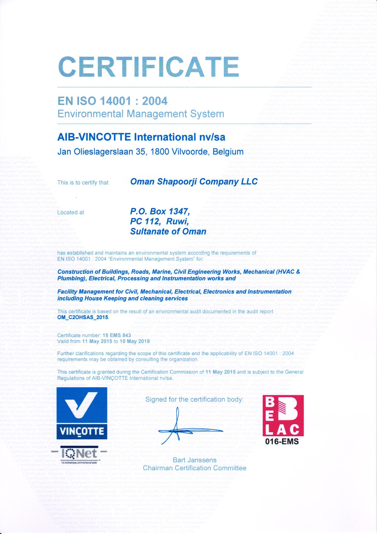 ISO 14001 Certificate May 2015