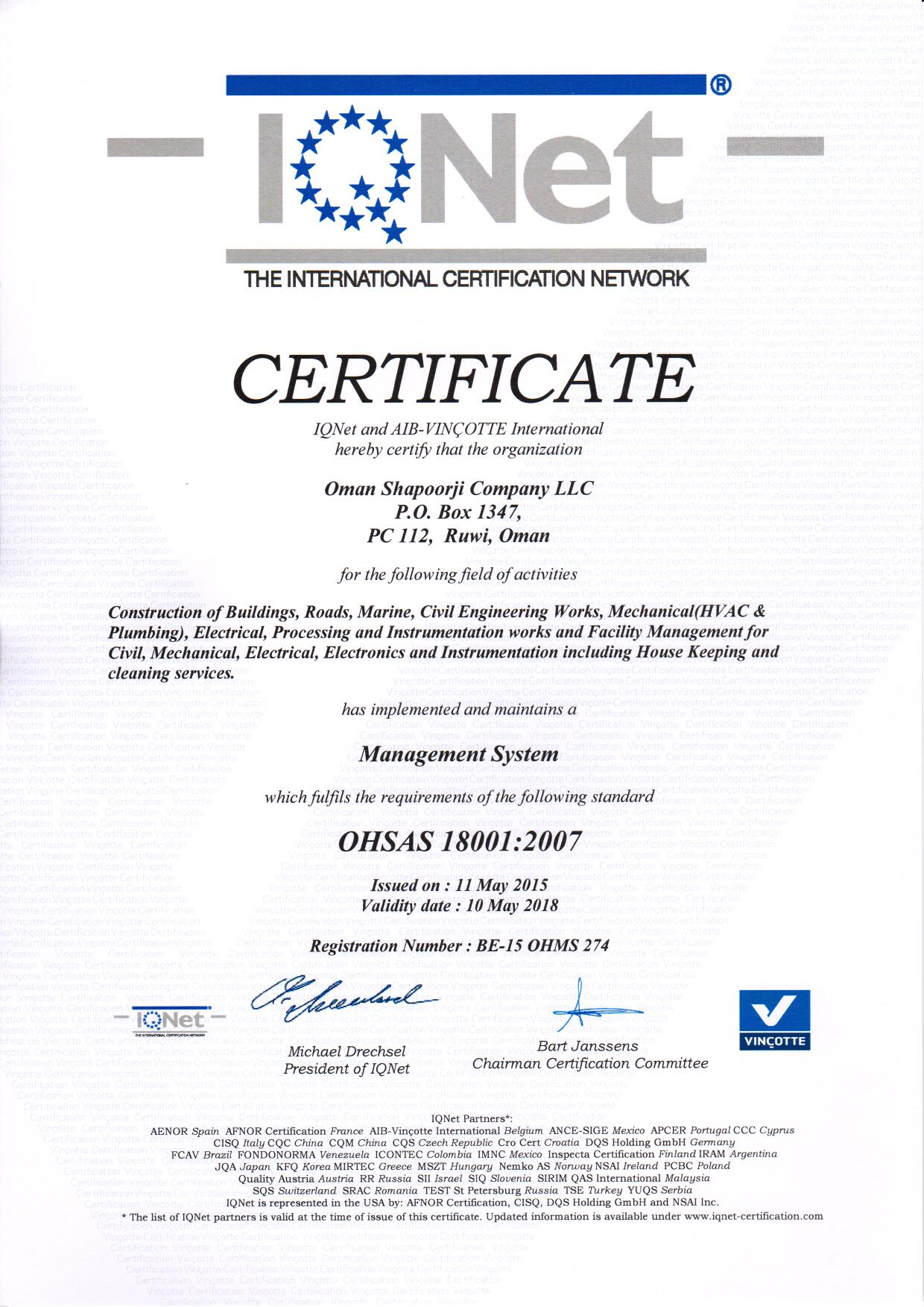 OHSAS 18001 Certificate May 2015 IQNET